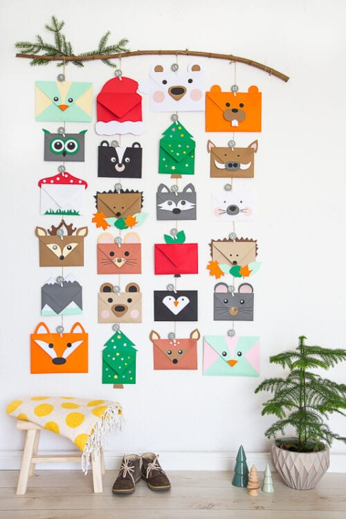 Animal Advent Calendar made with Envelopes
