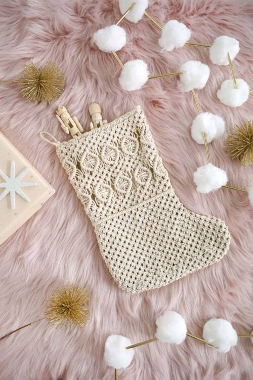 Try this boho take on a stocking with this easy macrame DIY for A Beautiful Mess