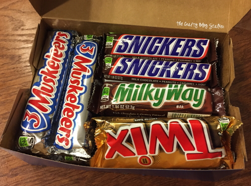 a box of assorted candy bars