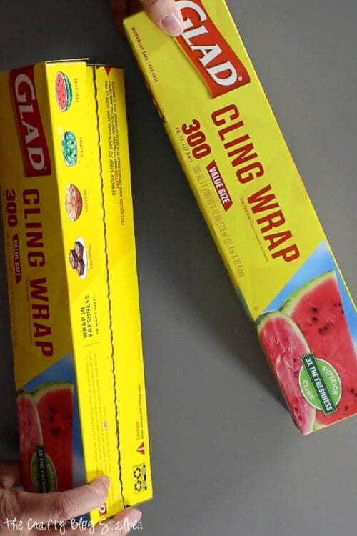 two rolls of Glad Cling wrap. Any plastic wrap will work