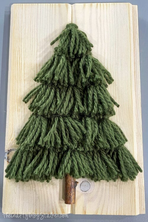 the finished tassel tree christmas decor sign