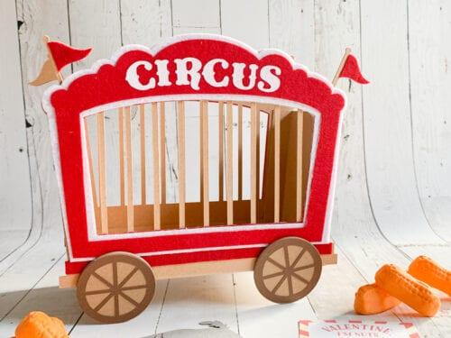 Circus Train Car Valentines Day Card Box