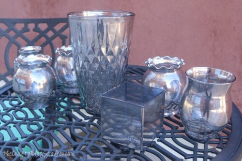 glass vases and dishes with diy mercury glass paint