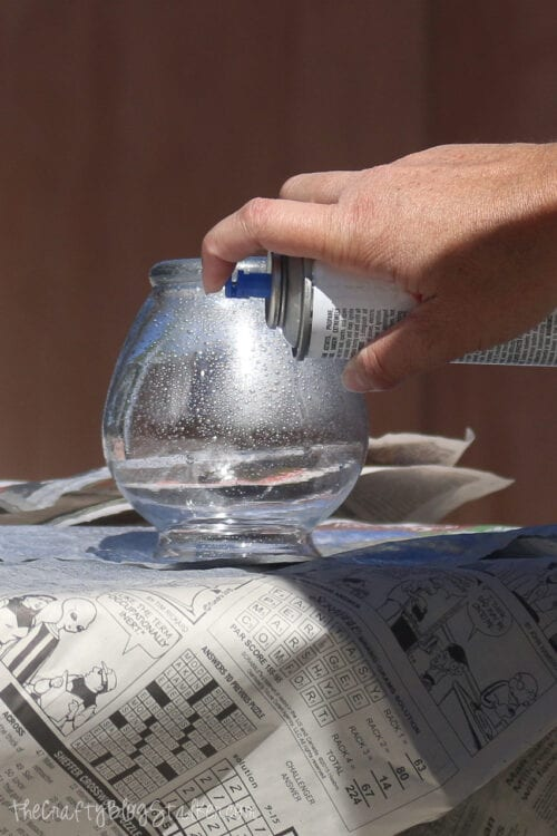 lightly spray the glass with Looking Glass Silver spray paint