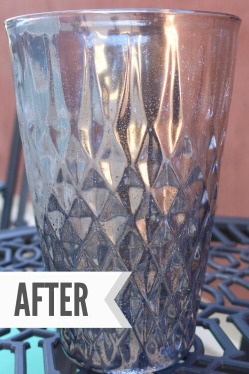 glass vase after applying mercury glass paint