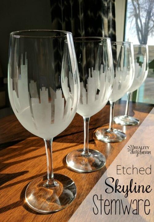 DIY Etched Skyline Wine Glasses stemware