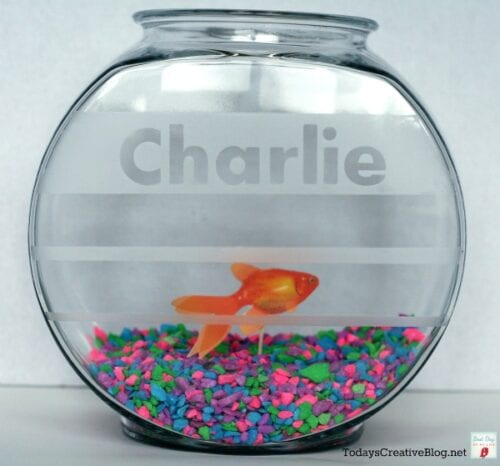 Etched glass fish bowl