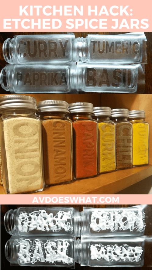 Kitchen hack etched spice jars
