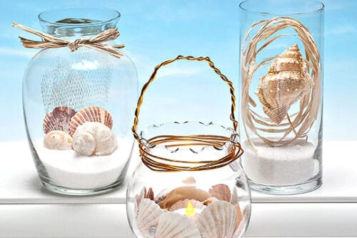 Trendy Coastal Decor with Sand and Shells