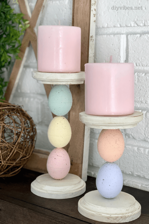 easter egg candle holders mantel