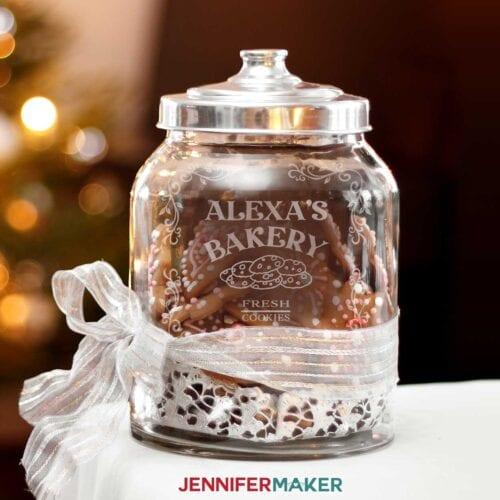 etched glass stencils cookie jar