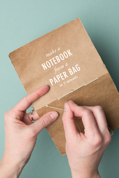 make a notebook from a paper bag