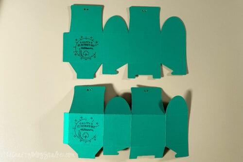 folding the treat boxes along score lines