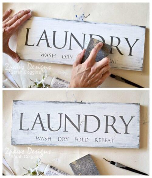 Laundry Sign Sanding