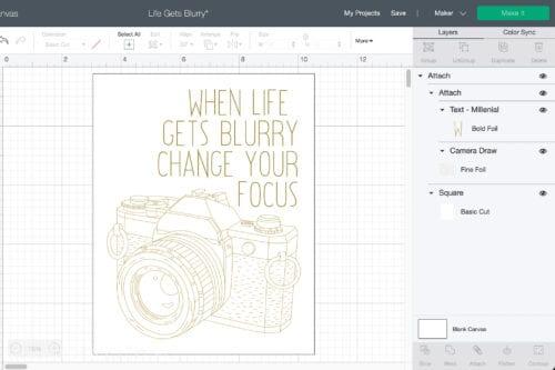 screen shot of cricut design space