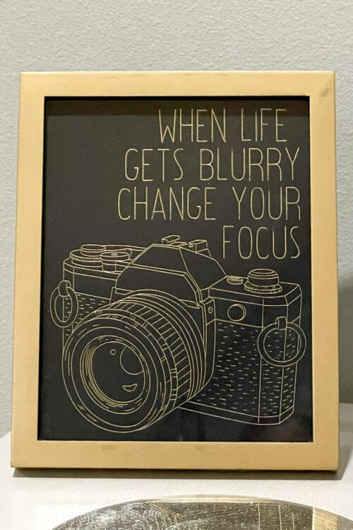 when life get's blurry change your focus framed foil print