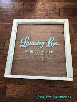 vintage window laundry sign