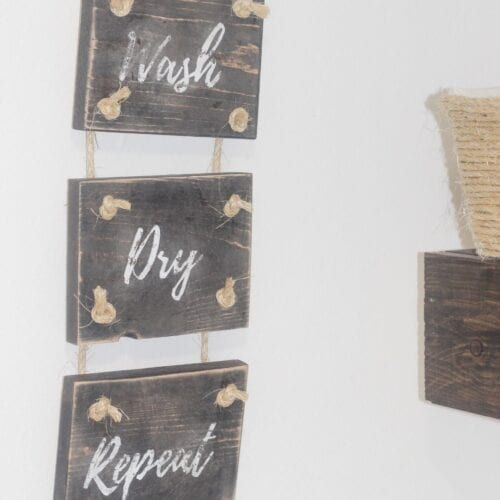 wash dry repeat laundry room wall decor feature