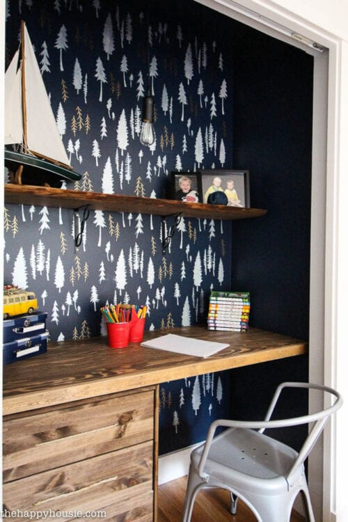 Closet turned into a workspace with beautiful stenciled feature wall
