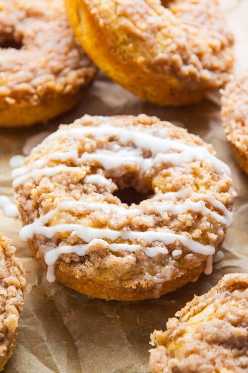 Coffee Cake Donuts with a Vanilla Glaze
