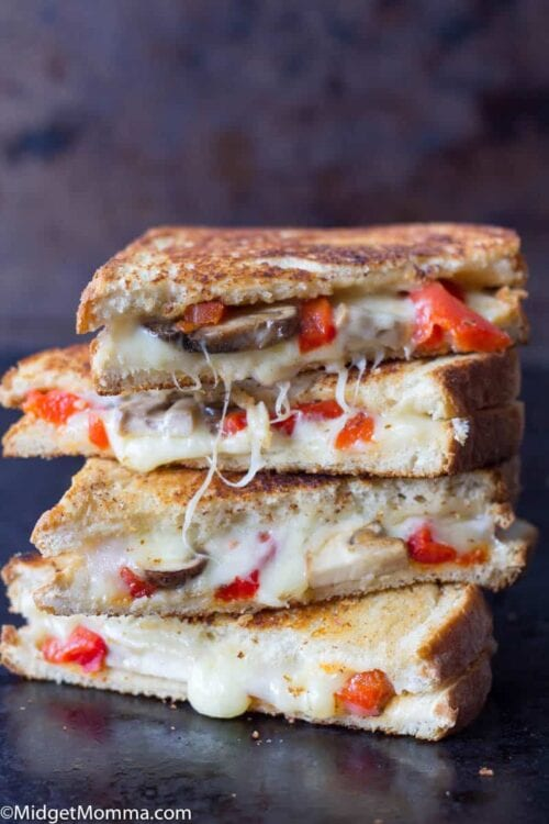 Roasted Red Pepper Mushroom and Provolone Grilled Cheese