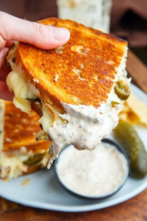 White BBQ Chicken Grilled Cheese Sandwiches