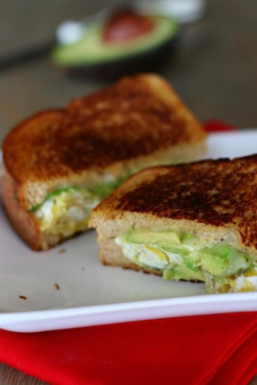 avocado scrambled egg pepper jack grilled cheese sandwich on whole wheat bread
