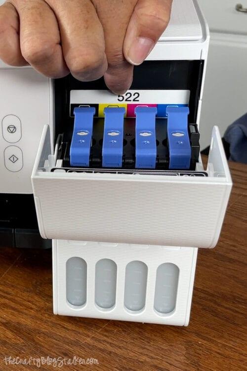 open lid of an ecotank printer