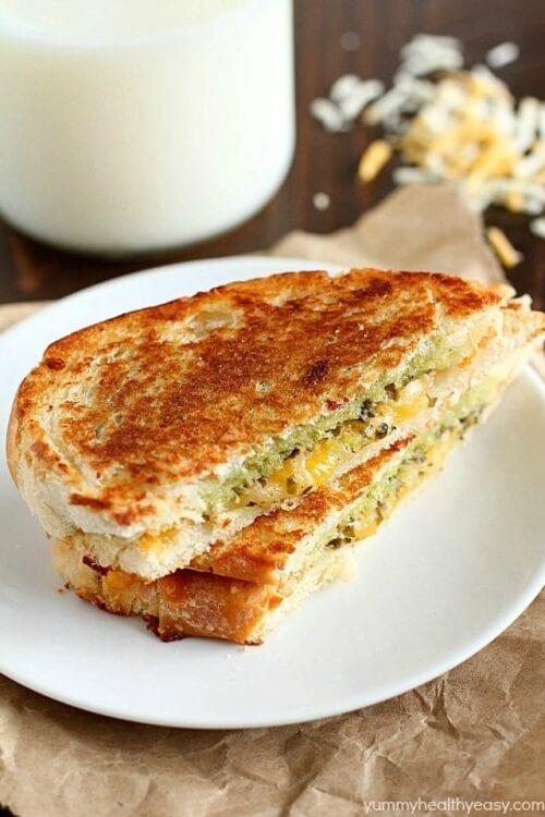 pesto grilled cheese panini