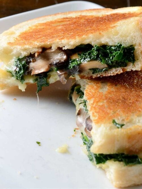robiola roasted garlic and kale grilled cheese