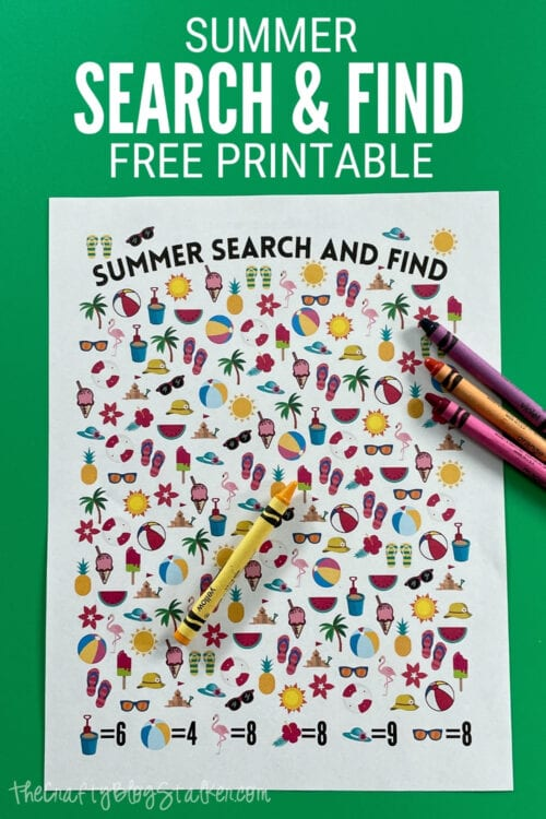 Title image for summer search and find printable