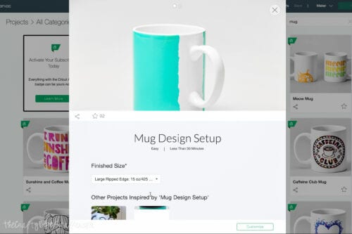 Configuración de diseño de taza en Cricut Design Space