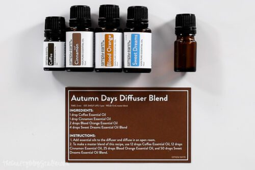 autumn days diffuser blend recipe card with essential oils