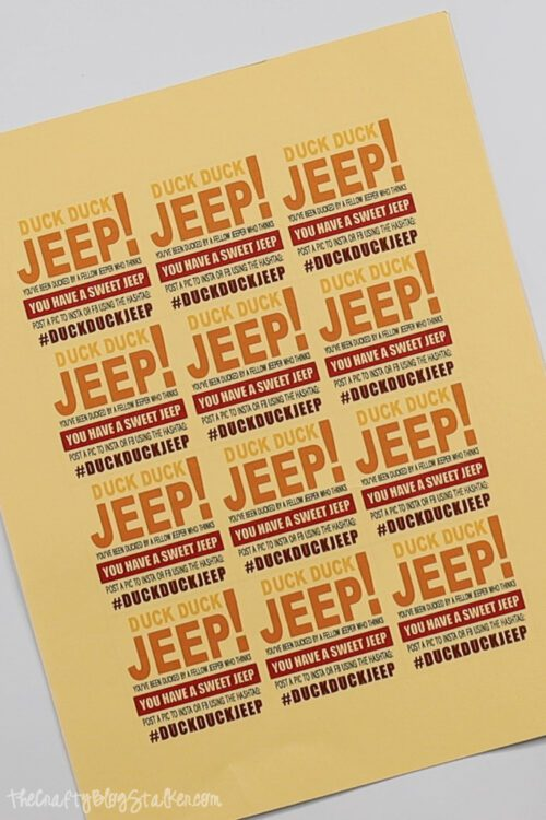 duck duck jeep printable pdf on yellow crdstock