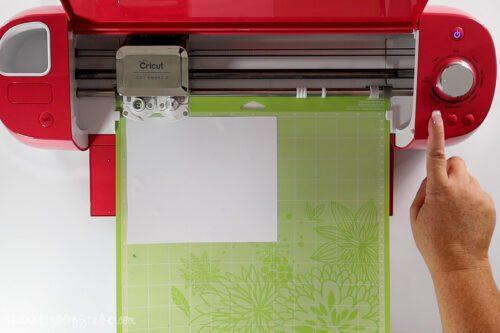 cutting the design on a cricut
